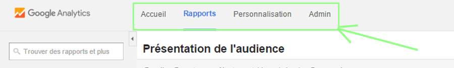 Menu secondaire de Google Analytics